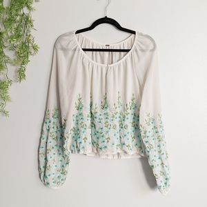 (Free People) White Sheer Blue Embroidered Top